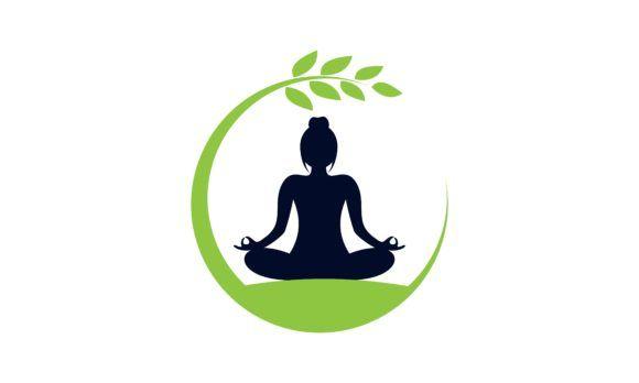 yoga logo design stock human meditation graphic by deemka studio creative fabrica in 2020 yoga logo design logo design yoga logo pinterest