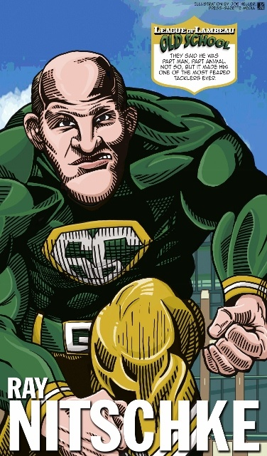 Ray Nitschke in The League of Lambeau by Green Bay Press-Gazette Media editorial cartoonist Joe Heller.  The 2013 iconic Green Bay Packers caricatures look back at the storied history of the NFL's oldest franchise. See them all at http://www.packersnews.com/section/PKR0601?odyssey=refresh