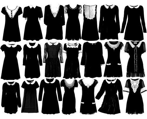 Wednesday Addams Inspiration, black dresses, gothic