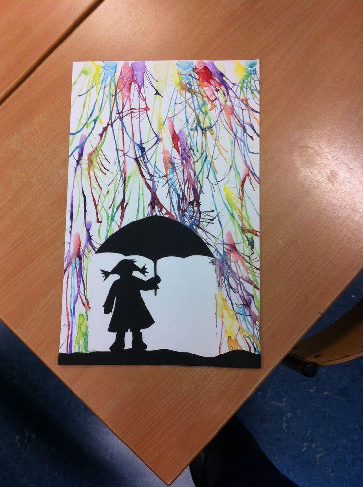 Herfst, regenbui met ecoline. Zie de Activitheek: Paraplu schilderij met kleurige regen www.doenkids.nl