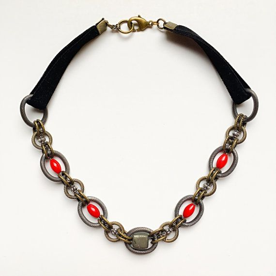 Coral and Pyrite Black Velvet Chainmaille by VexedUpBoutique