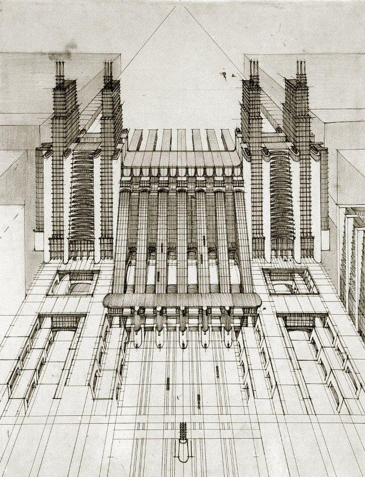 Antonio Sant'Elia. Stazione d'aeroplani e treni ferroviari. 1914