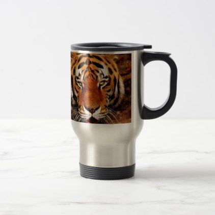 Tiger Close Up Travel Mug - photography gifts diy custom unique special