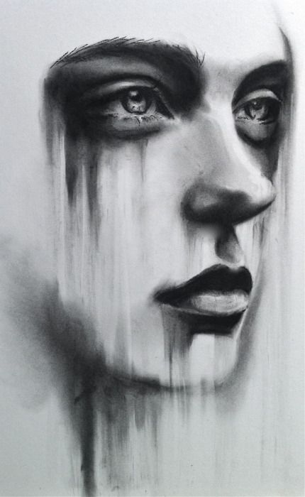 charcoal drawing by kate zambrano i love how the downward movement creates a narrative it is no longer a simple portrait is she sad r