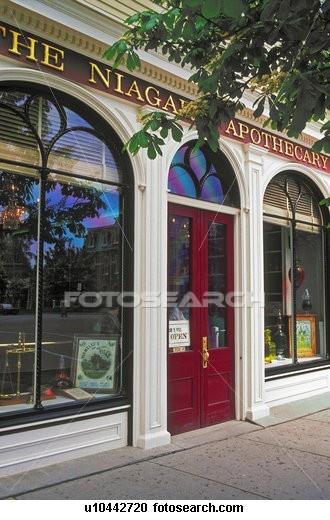 Niagara Apothecary storefront on Queen Street in Niagara-on-the-Lake, Ontario, Canada