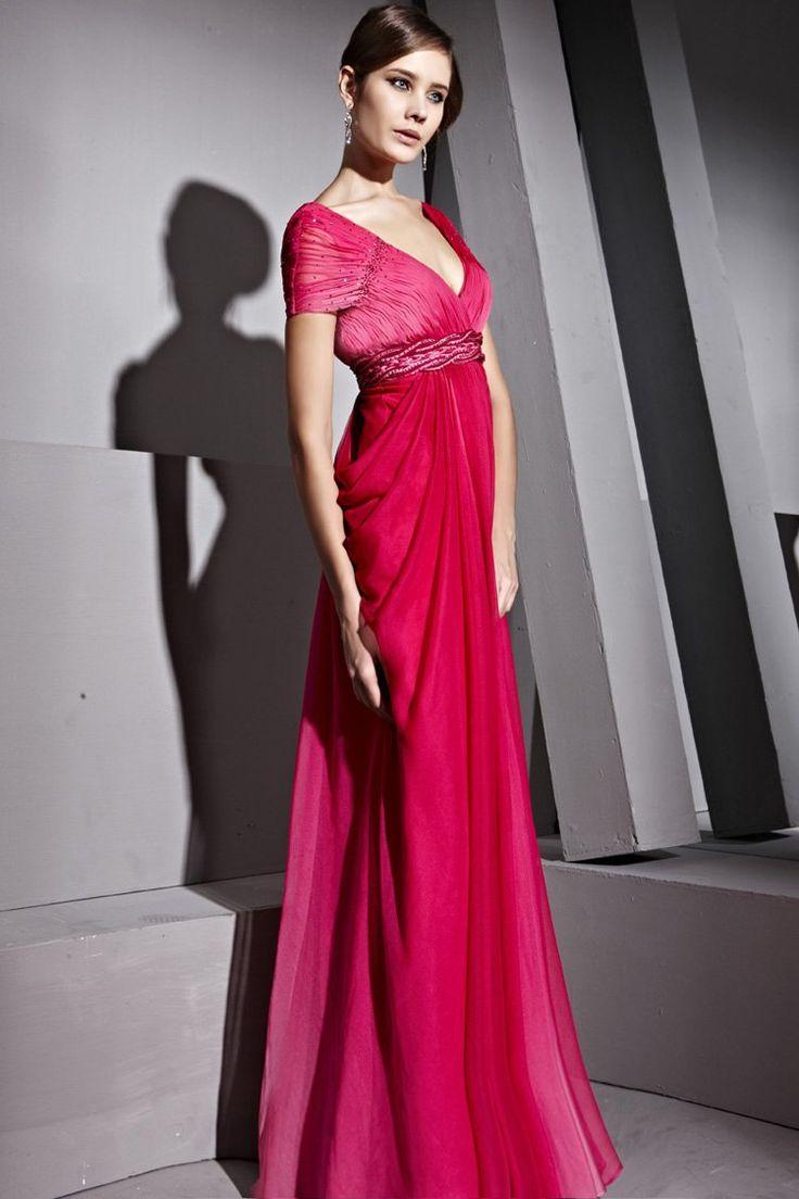 Short-Sleeves-Long-Formal-Dresses-Hot-Pink-V-neck-Mermaid-Dress-