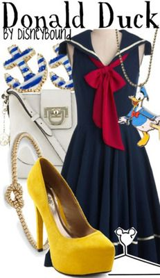 Disney Bound! Donald Duck inspired outfit! Too cute! Except if you're wearing it to the parks I would switch h out the heels for some cute yellow flats!