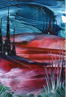 thundery skies one of my encaustic art paintings