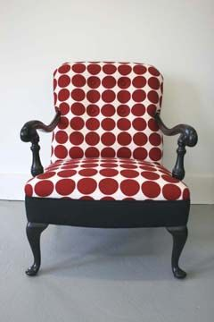 Antique Armchair in Black Satin Lacquer Finish with Mod Red & White Dotted Upholstery