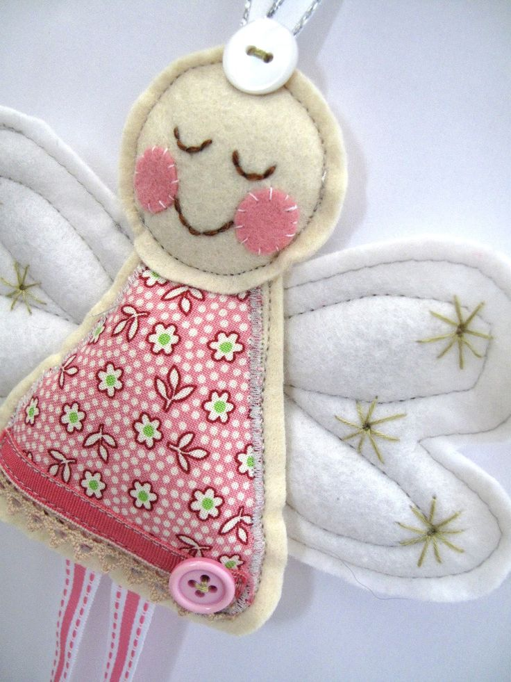 Angel for Christmas or Christening in Pink Ditsy Flower Fabric x Large Angel Decoration