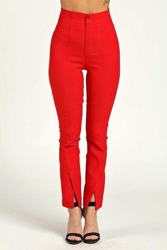 High Waist Front Slit Pants