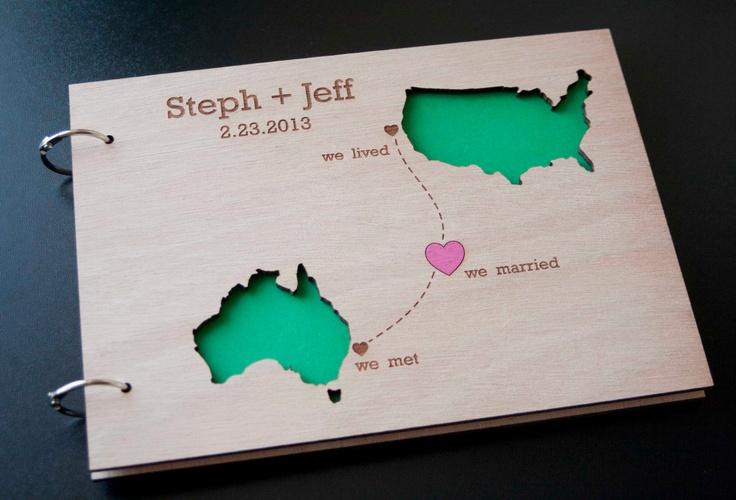 Custom Wedding Map guest book wood rustic wedding guest book album bridal shower engagement - Perzonalized Map Guest Book - UNIQUE DESIGN. $44.00, via Etsy.
