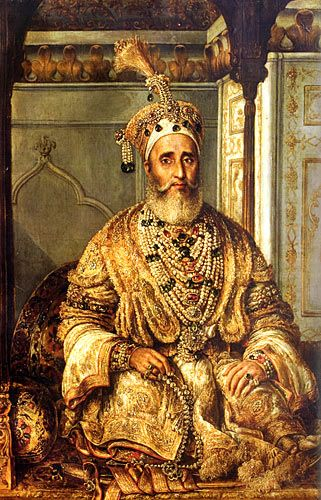 Bahadur Shah II, last Mughal Emperor of India (1838-1857). Painted by August Schoefft in 1854. Shah II was the last Mughal emperor and a member of the Timurid Dynasty. After his involvement in the Indian Rebellion of 1857, the British tried and then exiled him from Delhi and sent him to Rangoon in then-British-controlled Desi.