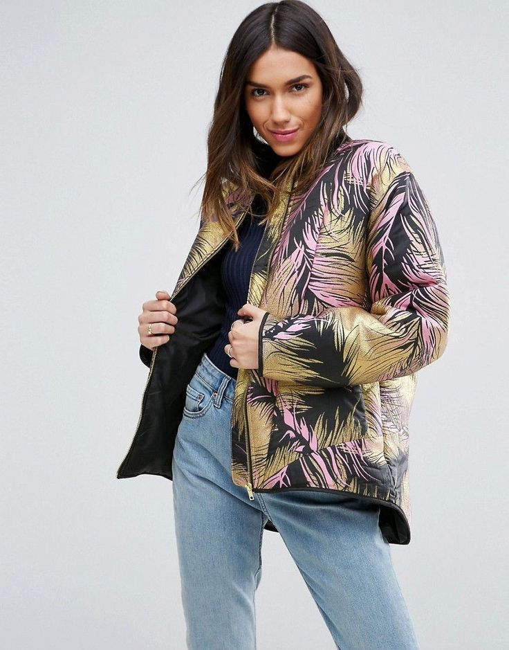 ASOS Premium Bomber Jacket In Metallic Jacquard - Multi