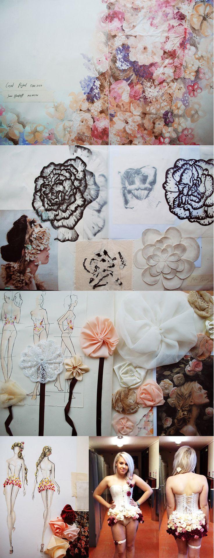 Contour Fashion Portfolio - corset project, fashion design  development - fashion sketchbook, research, illustrations, fabric flower samples  final design // Sarah Elizabeth