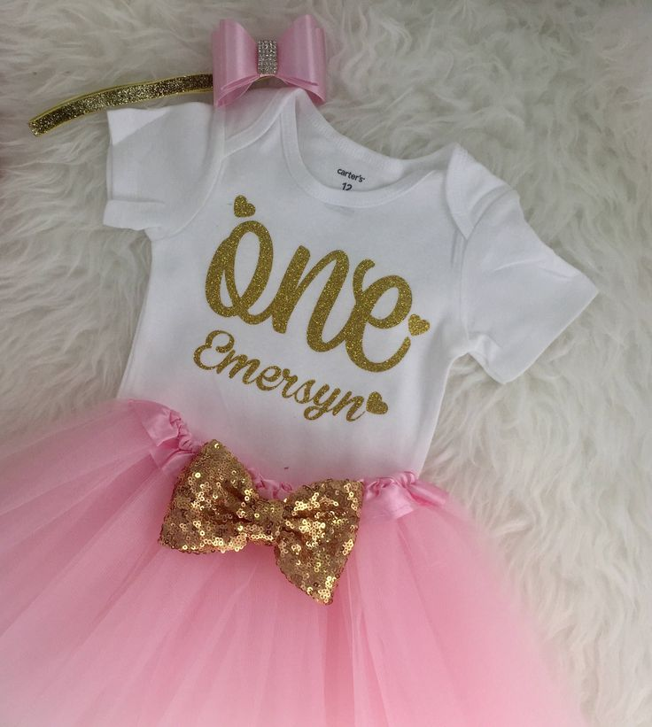Personalized Baby Girl's 1st birthday outfit Gold One Birthday outfit 1st birthday dress Baby girl first birthday outfit ANY NAME by FunMunchkin on Etsy https://www.etsy.com/listing/496789772/personalized-baby-girls-1st-birthday