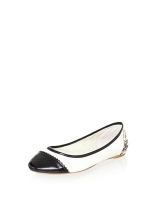 80% OFF Pour La Victoire Women's Pearl Mixed Media Ballet Flat (Black/White/Marble)