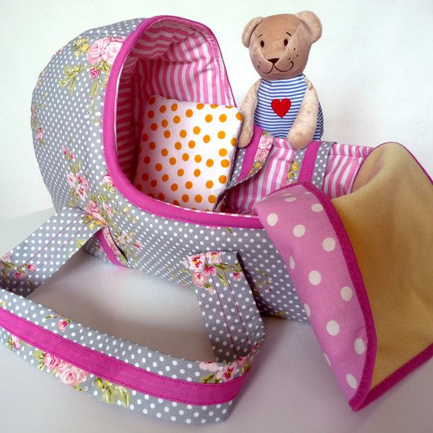 """Puppen - Puppentragetasche """"Rosa"""" - ein Designerstück von AliBabaAB bei DaWanda"""