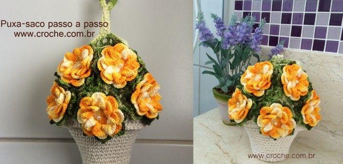 Puxa-saco vaso de flores passo a passo
