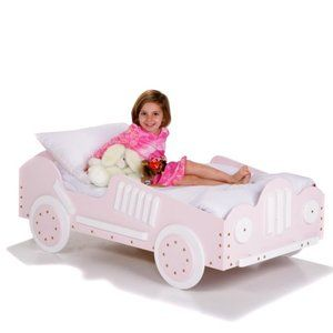 Pink Race Car Toddler Bed- My child needs this!