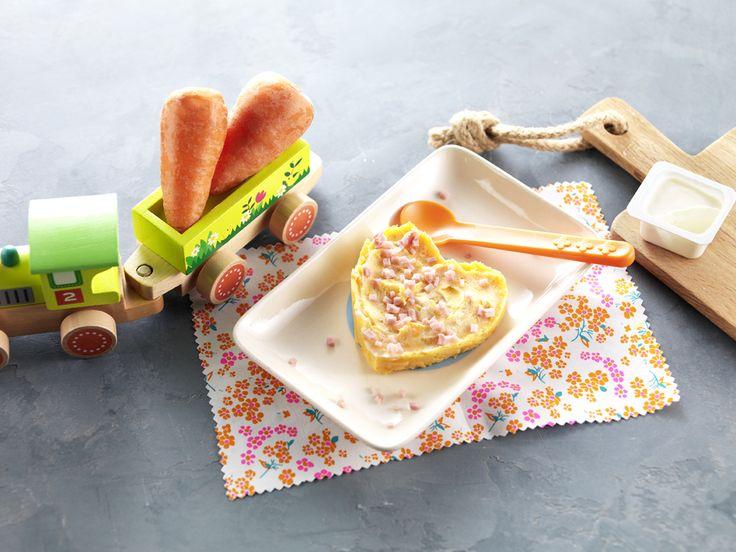 """Une recette pour dire """"Je t'aime"""" à Bébé le jour de la Saint-Valentin! Cœur carottes jambon et fromage à la crème pour bébé dès 24 mois. #recettebébé #24mois #saintvalentin"""