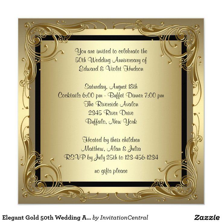 275 best Wedding Gold Invitations images on Pinterest Golden - fresh invitation samples for 50th wedding anniversary