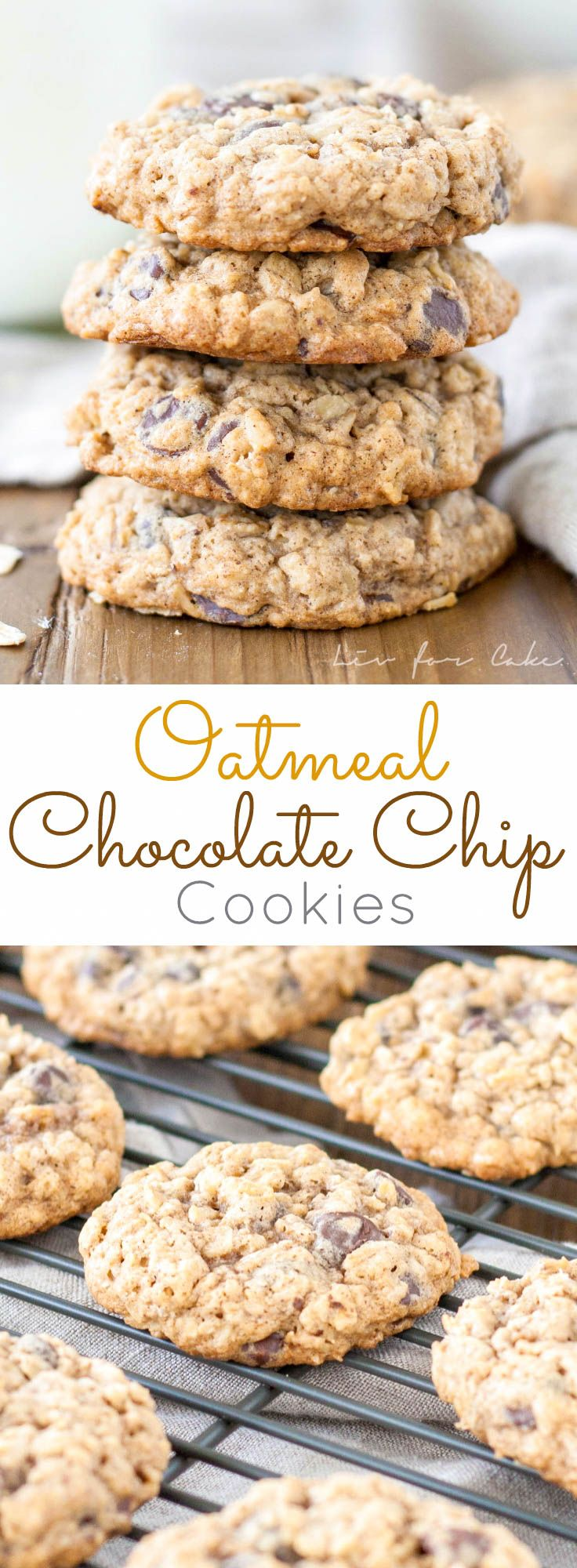 Soft and chewy oatmeal chocolate chip cookies | livforcake.com