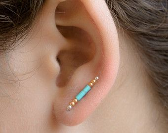 Turquoise and Gold Ear Pin, Glass Beads Ear Sweep, Gold Beads Ear Cuff, Minimalist, Boho, Modern Jewelry, Hand Made, Xmas Gift, EC005