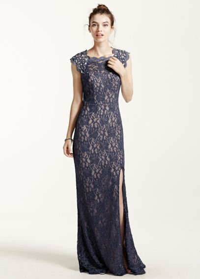 Long Lace Cap Sleeve Dress with Keyhole Back 3329MT4D