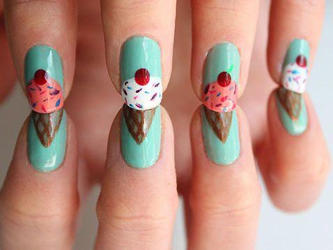 Cute ice cream cone nails.