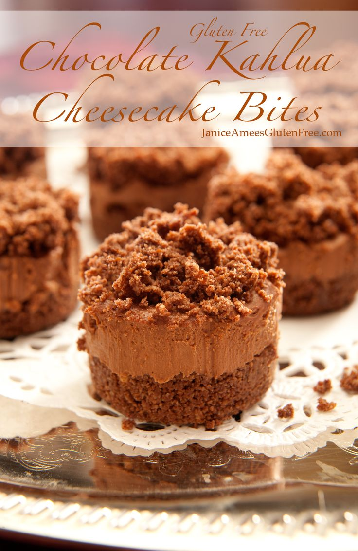 Gluten Free Chocolate Kahlua Cheesecake Bites! Make it Gluten Free and visit www.absolutelygf.com for more! #desserts #recipes #glutenfree