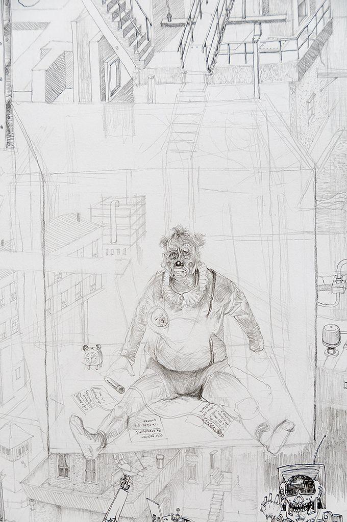grafiet, kleurpotlood, bruin krijt, pen en penseel in Oost-Indische inkt graphite, colour pencil, brown chalk, pen and brush in Indian ink  Boijmans Van Beuningen, Rotterdam 2012