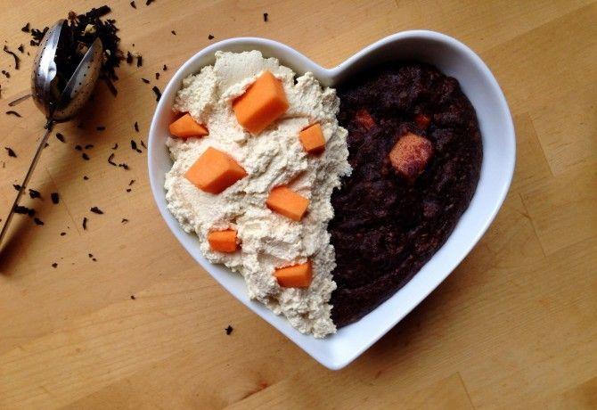 Csokoládés-sütőtökös zabkása lime-os tofukrémmel