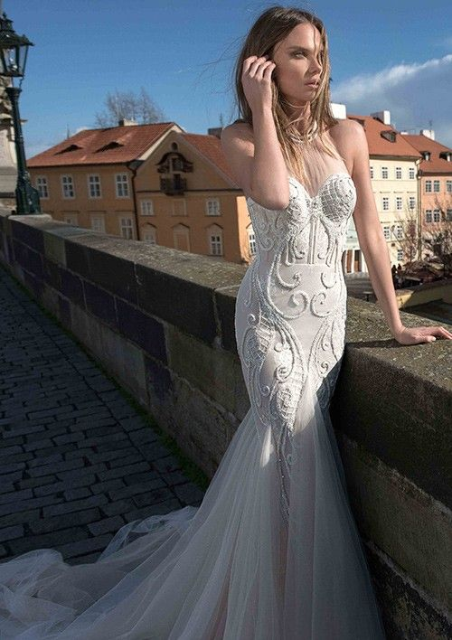 Trumpet/Mermaid Halter Chapel Train Tulle Wedding Dress With AppliquedSequins Beaded