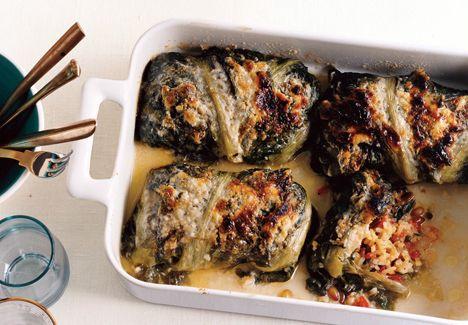 Stuffed Escarole         Mediterranean Rice-Stuffed Escarole Recipe    Epicurious.com