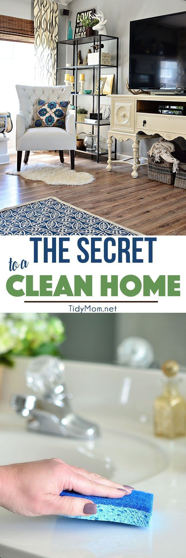 The key to good a spring cleaning and living in a cleaner house actually starts with clearing the clutter in your home. The more organized your home is, the easier it will be to keep clean. The Secret to a Clean Home at http://TidyMom.net #cleanfeelsgood