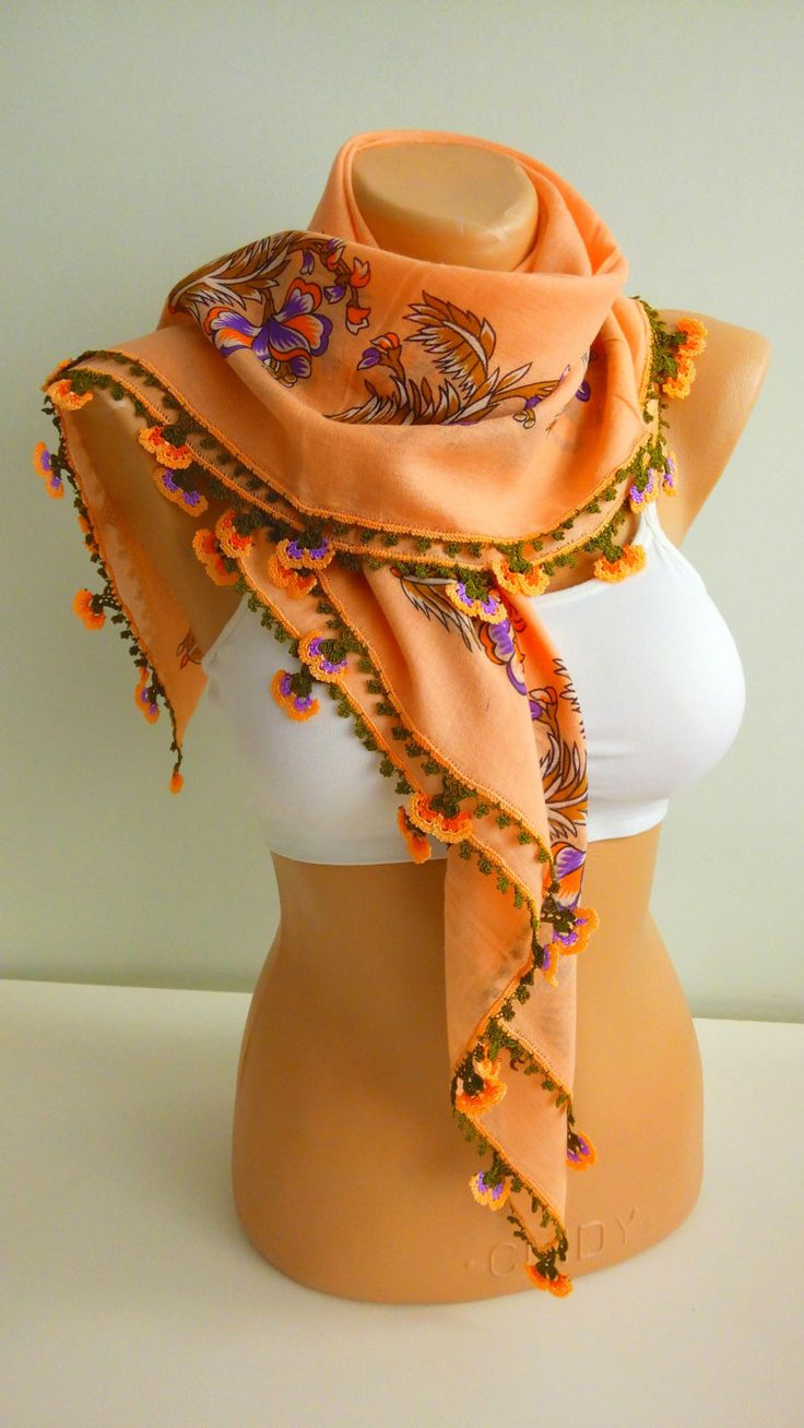 Turkish scarf / floral pinkish orange kerchief / organic cotton vintage fabric / handicraft Turkish oya / foulard / yemeni / unique gift by TurkishAccessories on Etsy