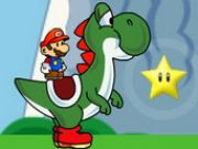 "Mario and Yoshi Adventure Take part in an explosive duel between Mario and Yoshi. In a universe inspired by the world of Mario mushroom, you could embody a Mario can ride Yoshi to face many adventures. That Mario game and Yoshi requires great agility, but also some reading mechanisms at different levels in order to successfully complete. To play this mario game, use the arrow keys to move. Use also the ""SPACE"" key on your keyboard to move up or down your mario Yoshi"