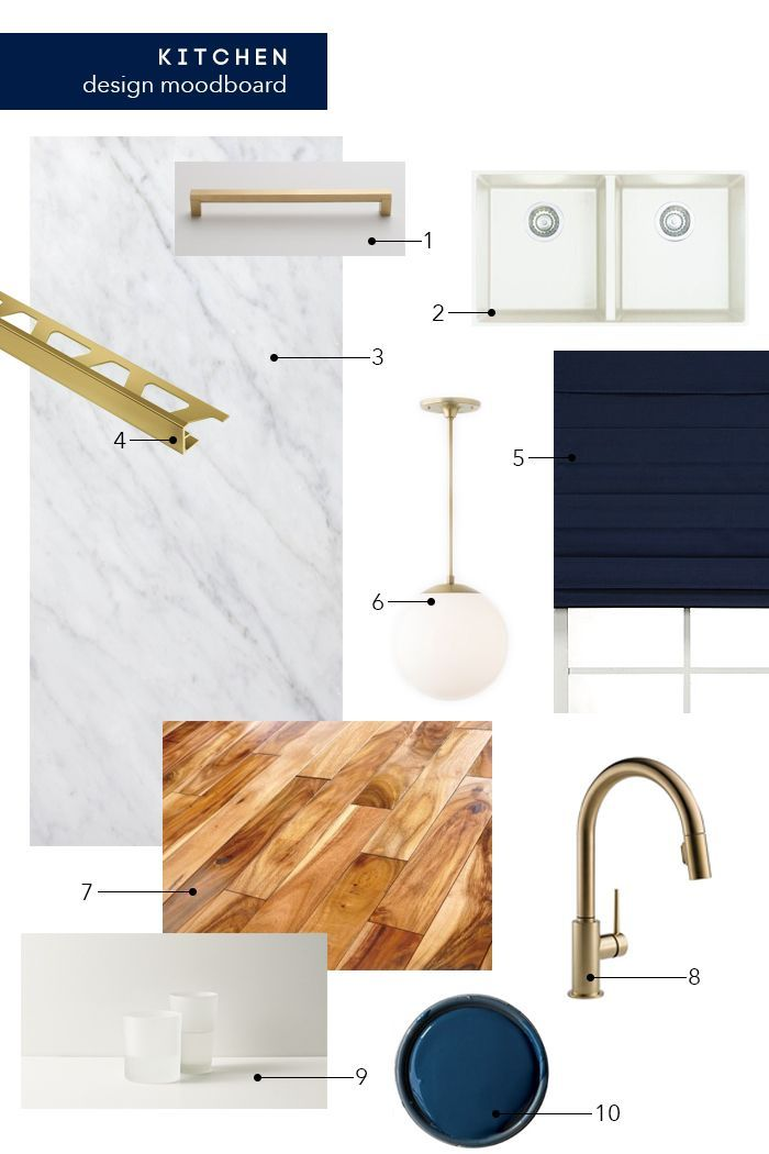 Emily Henderson's kitchen - 1. Brass Pulls: Schoolhouse Electric | 2. Blanco Precis Sink: Wayfair | 3. Carrera Marble Tile (we bought from local tile store) | 4. Schluter Schiene Edge Trim: Westside Tile | 5. Roman Shades: Decorview | 6. Brass Globe Pendants: (similar) Schoolhouse Electric | 7. Acacia Wood Hardwood Flooring: Build Direct | 8. Delta Brass Faucet: Wayfair | 9. Ceaserstone Countertops: Ceaserstone | 10. Cabinet Paint: Hague Blue by Farrow and Ball