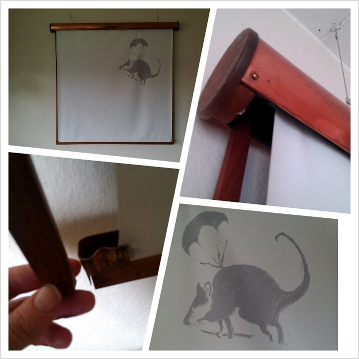 Retro projector canvas with Banksy rat