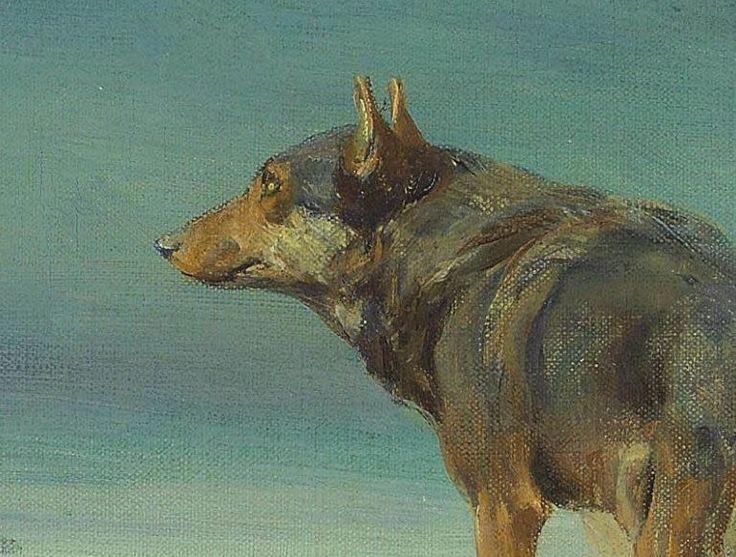 "Alfred Wierusz-Kowalski (Alfred Jan Maksymilian Kowalski) Perros y lobos / Dogs and Wolves ""Samotny wilk / El lobo solitario / Lon..."