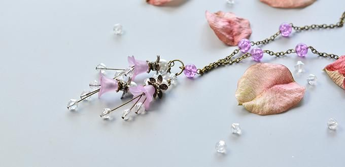 How to Make a Purple Flower Pendant Necklace with Antique Bronze Chain