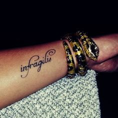 "Infragilis ""Unbreakable  Stay Strong"" Tattoo... Can't wait For This To Be Mine .Infragilis from Latin."