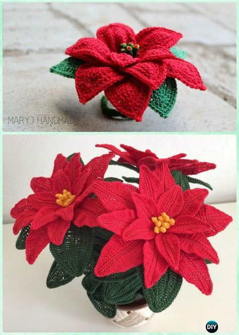 Crochet Christmas Poinsettia Flower Bouquet Free Pattern- #Crochet 3D Flower Bouquet Free Patterns