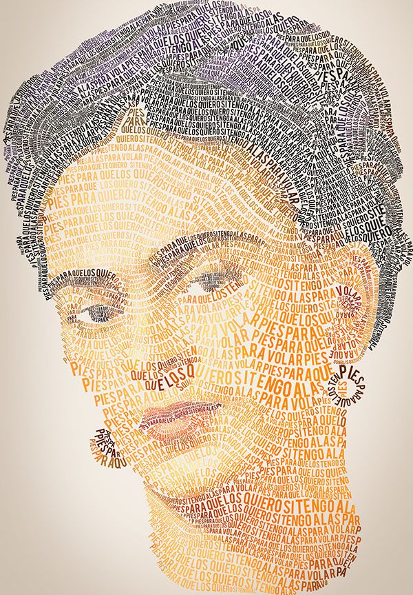 Caligrama frida kahlo on behance dedicato a frida Typography portrait