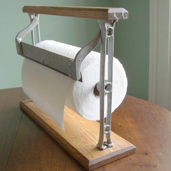 Vintage Towel Storage: Antique Cast Iron Paper Cutter, Repurposed As A Paper