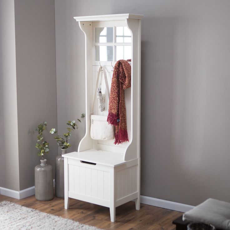 Storage Benches For Halls Part - 33: White Entryway Mini Hall Tree Coat Rack Stand Home Furniture Decor Storage  Bench In Home U0026 Garden, Household Supplies U0026 Cleaning, Home Organization