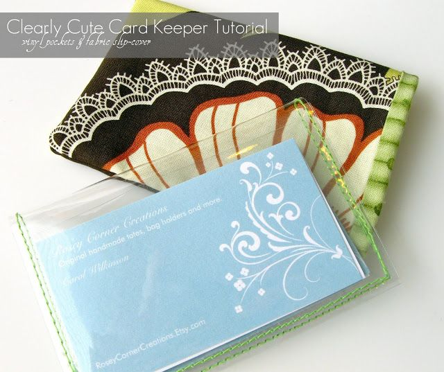 23 best how to make a card holder images on pinterest wallets rosey corner creations clearly cute card keeper tutorial clear vinyl pockets with fabric slip cover reheart Images
