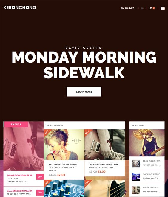 This music WordPress theme includes event management, WooCommerce compatibility, a responsive layout, support for multiple post formats, WPML support, 12 custom widgets, unlimited colors, and more.
