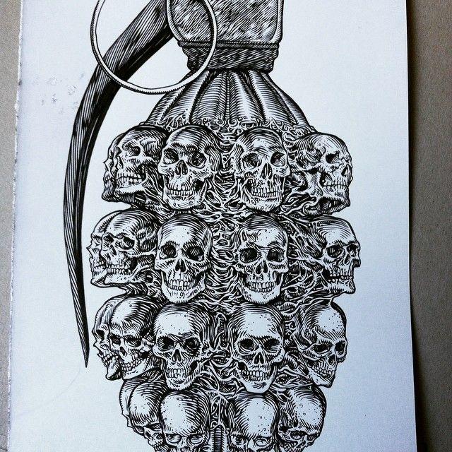 #glennoart #grenade #illustration #military #skulls #weapons #heavymetal #metal #punk .. Drawing tough stuff